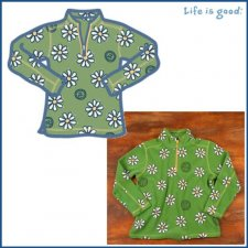 Life is Good Adorable Microfleece - Daisy on Green