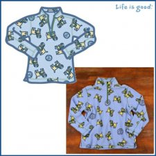 Life is Good Adorable Microfleece - Chilly Dog on Light Blue